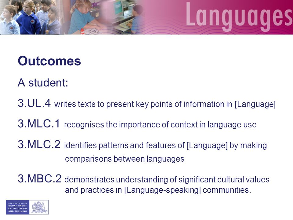 Outcomes A student: 3.UL.4 writes texts to present key points of information in [Language]